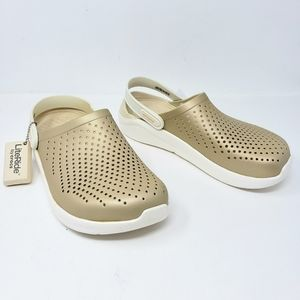 Crocs Literide Metallic Gold Clogs Comfort Shoes
